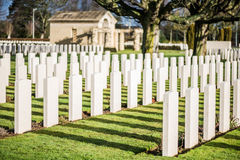 Tombstones in British War Cemetery in Normandy,France Stock Photo