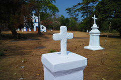 Tombstones, Cabo De Rama Fort Stock Photo