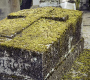 Tombstones in cemetery at dusk, gothic style crosses Stock Photos