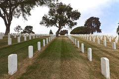 Tombstones in a cemetery Point Loma california. Stock Photography