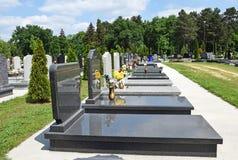 Tombstones in the cemetery Stock Photos