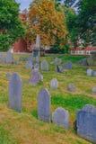 Tombstones in Copp`s Hill Burying Ground in North End, Boston, U. Tombstones in Copp`s Hill Burying Ground in the North End of Boston, USA royalty free stock image