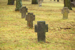Tombstones crosses on old cemetry Royalty Free Stock Images