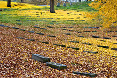 Tombstones in Fall Colors Stock Photography