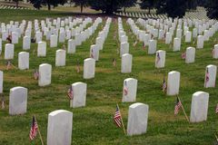 Tombstones with Flags. Memorial Day,Chattanooga National Cemetery stock photos