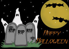 Tombstones, Ghosts, Bats Halloween Card Royalty Free Stock Photos