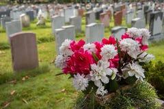 Tombstones on a graveyard Royalty Free Stock Photos