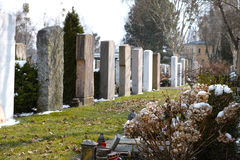 Graveyard. Tombstones on a graveyard on a sunny day Royalty Free Stock Image