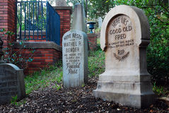 Tombstones at the Haunted Mansion Royalty Free Stock Image