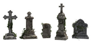 Tombstones with ivy. 3D render of vintage tombstones with ivy Royalty Free Stock Image