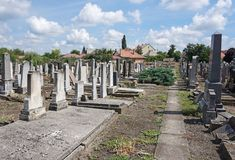 Tombstones in the jewish cemetery. In summer stock image