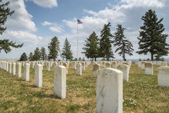 Tombstones in Little Bighorn Battlefield National Memorial Stock Photos