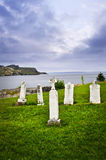 Tombstones near Atlantic coast in Newfoundland Royalty Free Stock Images