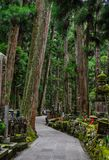 Tombstones at Okunoin Cemetery. Wakayama, Japan - Nov 24, 2016. Tombstones at Okunoin Cemetery on Mt. Koya Koyasan in Wakayama, Japan Royalty Free Stock Photo