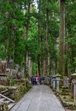 Tombstones at Okunoin Cemetery. Wakayama, Japan - Nov 24, 2016. Tombstones at Okunoin Cemetery on Mt. Koya Koyasan in Wakayama, Japan Royalty Free Stock Photography