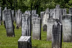 Old Connecticutt Graveyard. Tombstones in an old cemetary along route in Connecticutt Stock Image