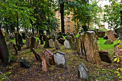 Tombstones at the old Jewish cemetery in Prague Royalty Free Stock Photography