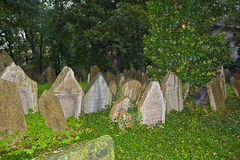 Tombstones at the old Jewish cemetery in Prague Stock Photography