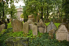 Tombstones at the old Jewish cemetery in Prague Royalty Free Stock Photos
