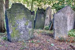 Tombstones on Old Jewish Cemetery in the Jewish Quarter in Prague stock image