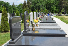 Tombstones in the public cemetery Stock Photography