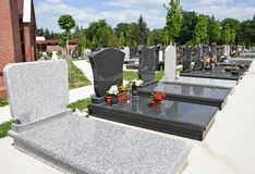 Tombstones in the public cemetery Royalty Free Stock Image