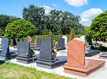 Tombstones in the public cemetery Royalty Free Stock Images