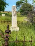 Old and Ancient Obelisk Monument. Tombstones, resting places in Oak Grove Cemetery, in California. Oak Grove Cemetery, Knights Ferry, Stanislaus County, CA stock image