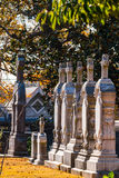 Tombstones in the row on Oakland Cemetery, Atlanta, USA Royalty Free Stock Photography