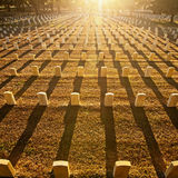 Tombstones with rows of shadows Royalty Free Stock Image