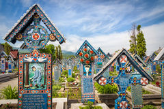 Tombstones at Sapanta Merry Cemetery Royalty Free Stock Images