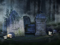 Tombstones, skulls and lanterns Royalty Free Stock Photos