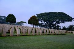 Tombstones of soldiers at Kranji Commonwealth War Cemetery Singapore Stock Images