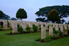 Tombstones of soldiers at Kranji Commonwealth War Cemetery Singapore Royalty Free Stock Image
