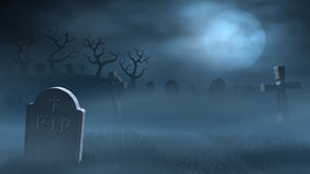 Tombstones on a spooky misty graveyard, full moon at night. A path between old tombstones on a spooky and foggy graveyard at night. Lit by the light of a full Stock Photos