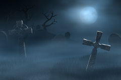 Tombstones on a spooky misty graveyard at night Stock Image