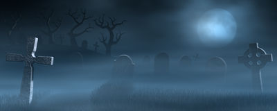 Tombstones on a spooky misty graveyard at night. A path between old tombstones on a spooky and foggy graveyard at night. Lit by the light of a full moon Royalty Free Stock Photography