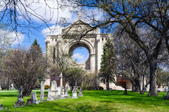 Tombstones and St.Boniface cathedral Royalty Free Stock Photography