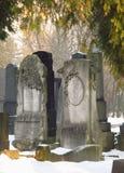 Tombstones under the trees Stock Photo