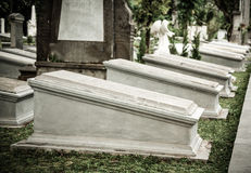 Tombstones in very old cemetery Museum Prasasti Royalty Free Stock Photography