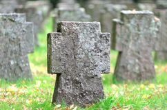 Tombstones at a war cemetery Stock Photo