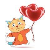 Tomcat con los corazones Imagen de archivo