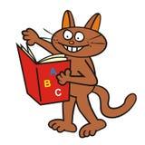 Tomcat och bok Arkivfoton