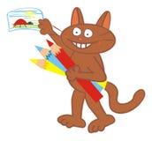 Tomcat och teckning Royaltyfria Bilder