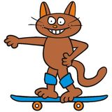 Tomcat and skateboard Stock Photo