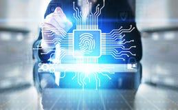 Tome as impressões digitais para destravar o conceito da proteção de dados da segurança do cyber na tela virtual foto de stock