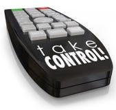 Tome a controle a confiança assertiva remota da ambição da atitude ilustração do vetor