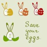 Tome el cuidado de sus huevos Stock de ilustración