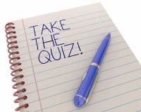 Tome el juego de diversión de las curiosidades del examen de la prueba del concurso Pen Writing Words Foto de archivo