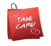 Tome el mensaje del cuidado en un post-it Imágenes de archivo libres de regalías